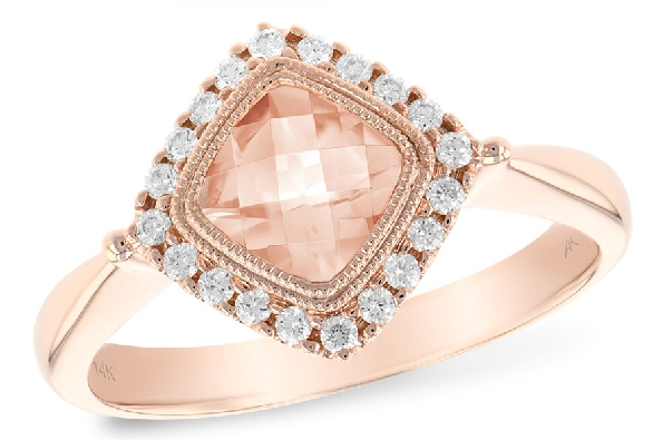 14 karat rose gold ring; square checkerboard cut morganite (.75ct) set on the diagonal with a diamond halo (.15cttw); filigree underbezel