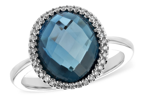 14 karat white gold ring; oval high-dome checkerboard-cut London blue topaz weighing 5.31 carats surrounded by .14cttw diamond; straight shanks