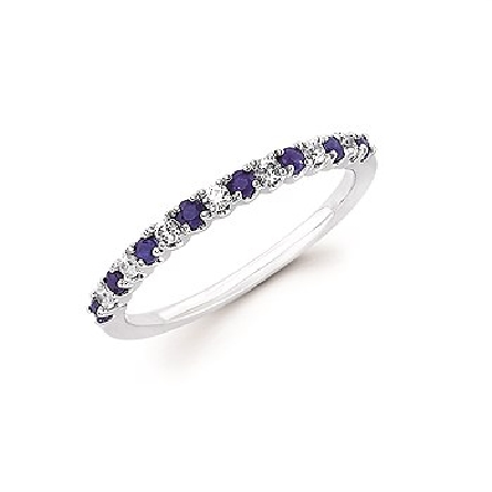 14 karat white gold band-style ring with alternating sapphire and diamond; .14cttw diamond