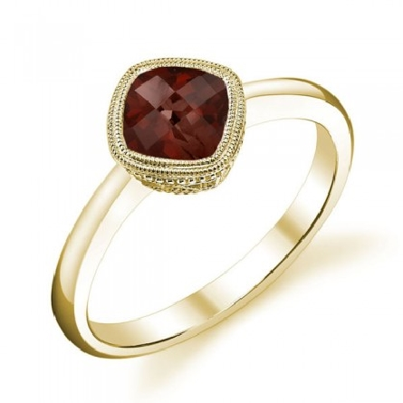 14 karat yellow gold ring; checkerboard-cut 6mm antique cushion garnet set on point; milgrain trim on bezel and underbridging; straight polished shanks