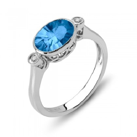 14 karat white gold ring with sunburst-cut blue topaz set east-west with milgrain bezel; app. 1.90ct; bezel-set diamond on each side; .04cttw; filigree underbridging