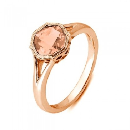 14 karat rose gold ring; 7mm checkerboard cushion-cut morganite in octagonal milgrain bezel. filigree underbridging; approx. 1.30 carat. split polished shanks