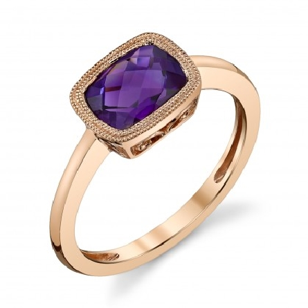 14 karat rose gold ring set east-west with 8x6 cushion checkerboard-cut amethyst; filigree underbridging; polished straight shanks