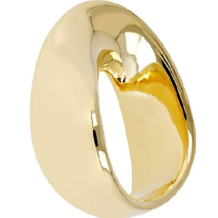 14 karat yellow gold ring; wide slightly tapered band with a twist at the center front; resin-filled and dent-resistant; size 7