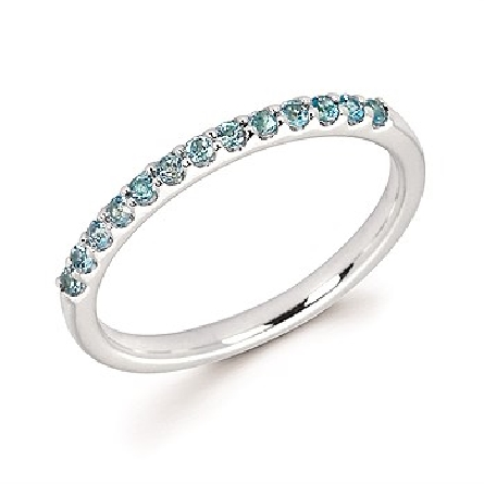 14 karat white gold straight row stackable ring with 13 round shared-prong-set blue topaz stones