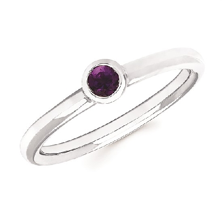 10 karat white gold stackable ring with bezel set round amethyst