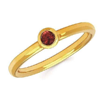 10 karat yellow gold stackable ring with bezel set round garnet