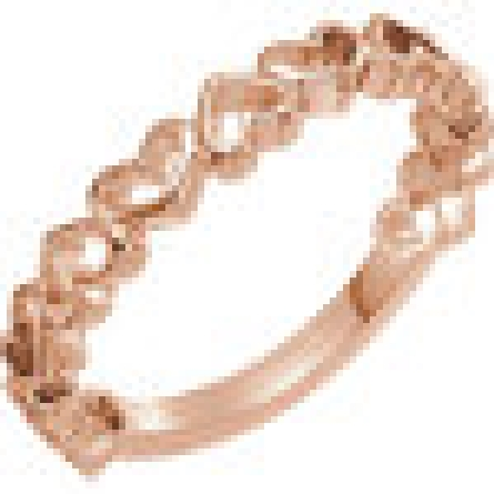 14 karat rose gold stackable ring; open heart shapes alternate direction