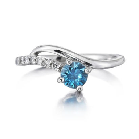 14 karat white gold ring; round blue zircon (.69 carat) at the end of a curved diamond bar (.084cttw H-I/SI2); curved polished bar sits alongside