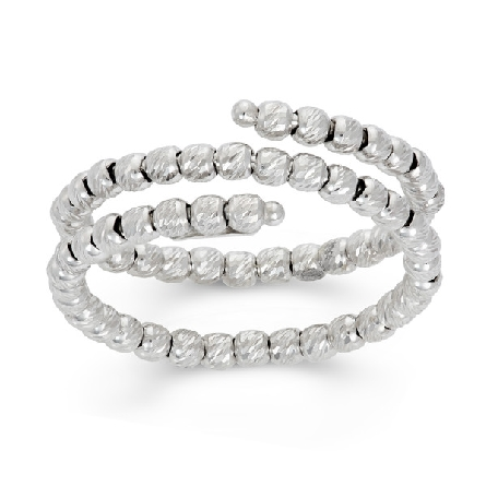 sterling silver adjustable size ring made of diamond cut beads that twists around the finger