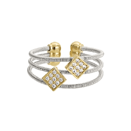 sterling silver cuff ring; three cables with two gold finish squares set with simulated diamonds
