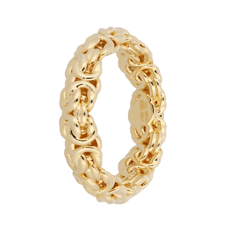 14 karat yellow gold byzantine weave ring; resin filled and dent resistant; size 7