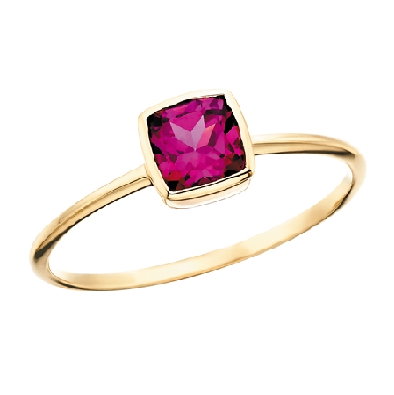 10 karat yellow gold stackable ring with narrow shank and bezel set cushion-cut rhodolite