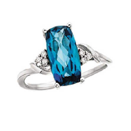 14 karat white gold ring with antique cushion London blue (  royal blue  ) topaz; cluster of 3 diamonds on each side; .06cttw