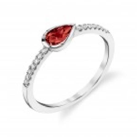 14 karat white gold ring with pear shaped garnet set east-west; approx .11cttw diamonds set down side shanks