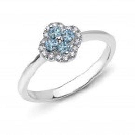 14 karat white gold ring with 4 round aquamarines in center cluster; diamond halo makes clover shape; app. .10cttw diamond