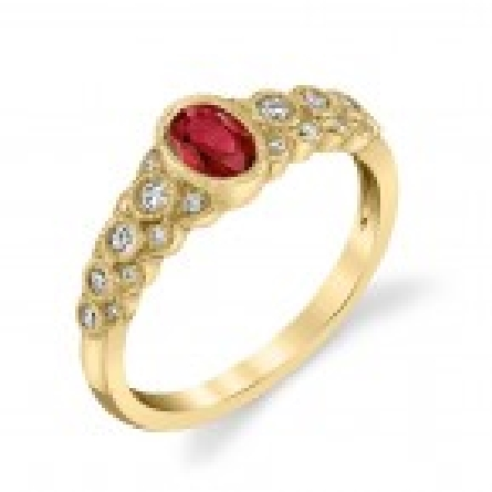 14 karat yellow gold ring with oval ruby center (.62 carat); graduated fluted side shanks set with diamonds (.20cttw) and edged with milgrain