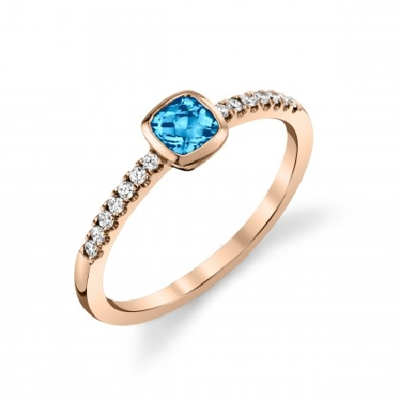 14 karat rose gold ring with 4mm cushion checkerboard blue topaz; diamonds (.11cttw) down the side shanks