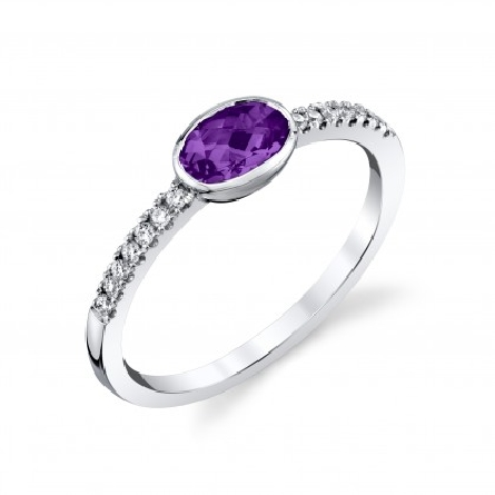 14 karat white gold ring with a bezel set 6x4 oval checkerboard amethyst; diamonds =.11cttw down side shanks