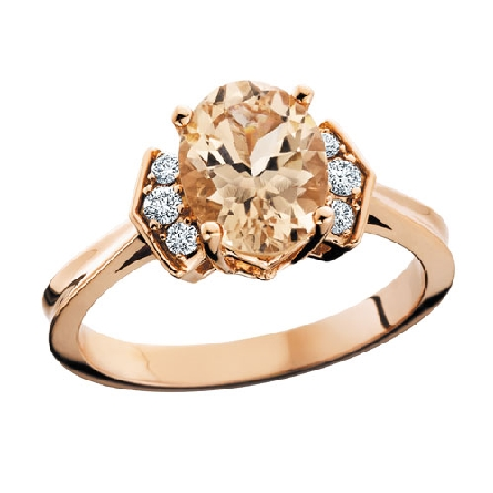 10 karat rose gold ring set with oval morganite center with 3 round diamonds bead set on each side weighing .14cttw.