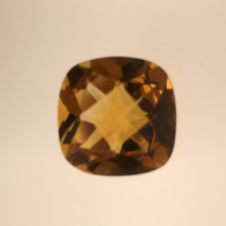 loose citrine weighing 3.97 carat; 10mm cushion (or antique square); checkerboard cut; affordably priced!