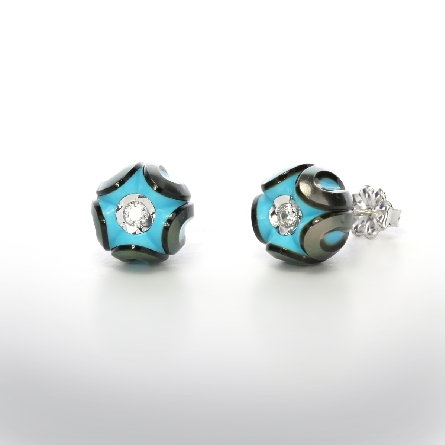 earrings with turquoise nucleated Galatea pearl with a diamond in center of each; .08cttw; on 14 karat white gold friction posts