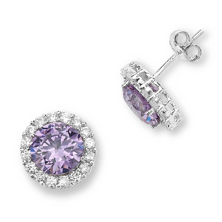 sterling silver pierced earrings; round lavendar cubic zirconia with clear CZ halo; TRJewelry SESE925TNCZ