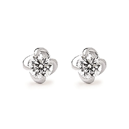 14 karat white gold diamond stud earrings with a four prong twist setting; 2=1.00cttw I/I1