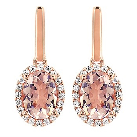 14 karat rose gold earrings; each with a 7x5mm oval morganite surrounded by 20 diamonds; 40=.20cttw; dangle from a polished rose gold bar; friction posts and backs