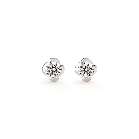 14 karat white gold diamond stud earrings with a twist setting; 2=.24cttw G-H/I1