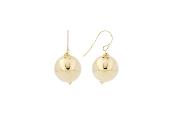 14 karat yellow gold electroformed earrings; 12mm polished ball dangle on French wire; resin filled for dent resistance