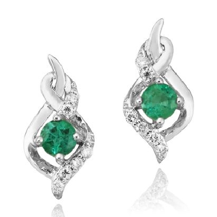 14 karat white gold earrings; round emerald (.44cttw) in double twist mounting with diamonds (.108cttw) above and below