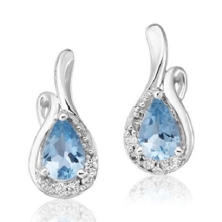 14 karat white gold earrings; pear shape aquamarine (.70cttw) with a curve of diamonds below and up one side (.07cttw H-I/SI2)