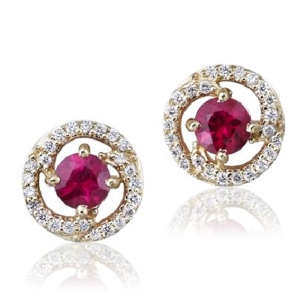 14 karat yellow gold earrings; round ruby(.74cttw) in center of diamond swirl halo (.15cttw H-I/SI2); rope chain