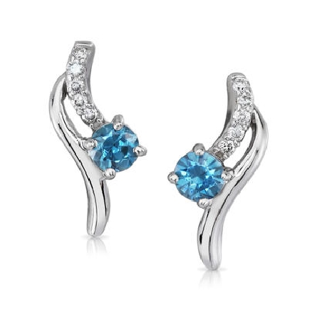 14 karat white gold earrings; round blue zircon (.74cttw) hanging from curved diamond bar (.08cttw H-I/SI2); polished bar sits alongside