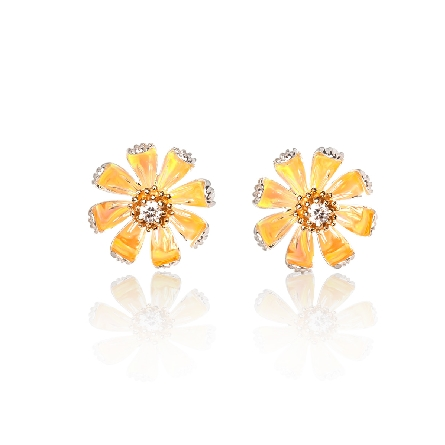 sterling silver earrings; daisy appears yellow due to reflection of lab opal around center 14 karat yellow gold setting which holds a .03ct diamond in each ear