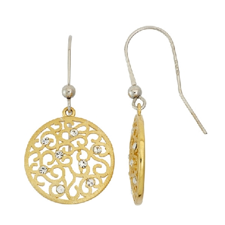 sterling silver French wire earrings; gold plated round filigree disc with crystals