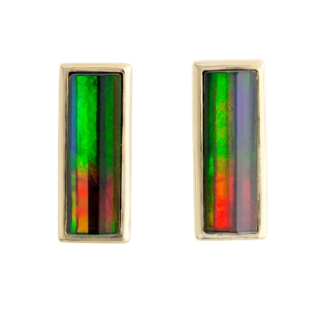 14 karat yellow gold column earrings with faceted bezel set rectangular   A+   ammmolite on posts. Made in Canada. Colors vary from those in image.