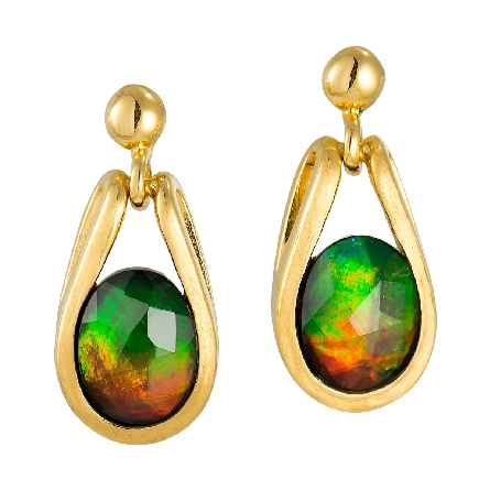 sterling silver with gold plate earrings; satin finish frame forms bezel at bottom and sides; integral loops at top; oval   standard   grade ammolite with faceted top; dangles hang from ball posts. Made in Canada. Colors vary from those in image.