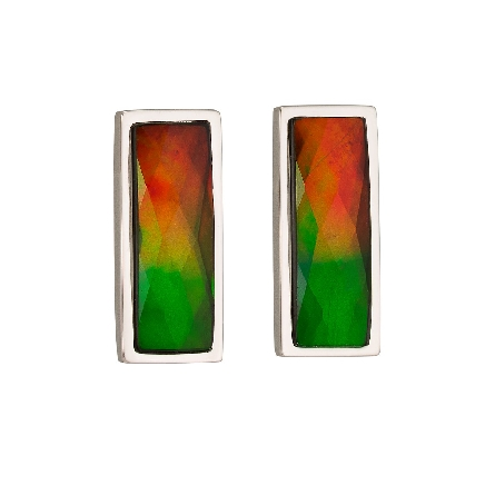 sterling silver earrings; rectangle   standard   grade ammolite in bezel setting on post. Made in Canada. Colors and faceting vary from those in image.
