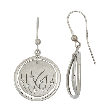 sterling silver French wire earrings; center matte finish disc with grass design and Swarovski accent; outer polished frame