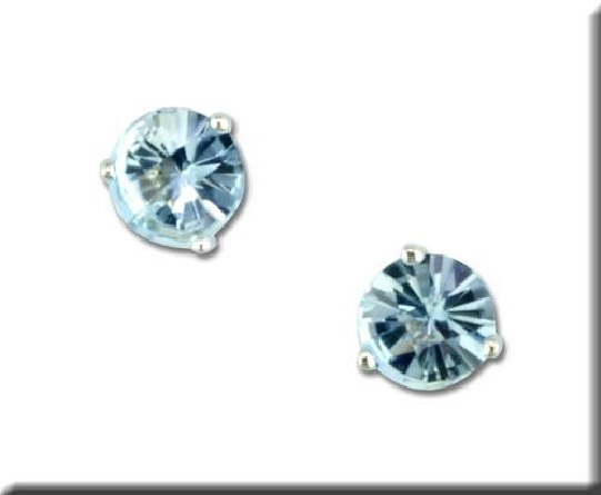 14 karat white gold 3-prong martini setting earrings with 5mm checkerboard aquamarine