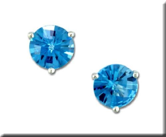 14 karat white gold 3-prong martini setting earrings with 5mm checkerboard blue topaz