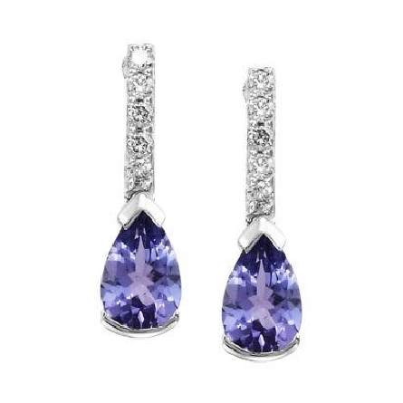 14 karat white gold earrings with a row of diamonds (.08cttw) leading off ear to a dangling pear shaped tanzanite (.80cttw)