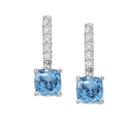 14 karat white gold earrings with a row of diamonds (.15cttw) leading off the ear to a dangling cushion shaped blue topaz (2.00cttw)