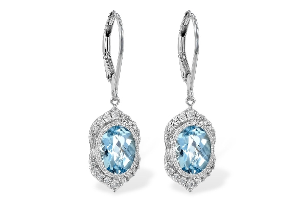14 karat white gold lever back earrings; oval aquamarine (2.24cttw) with milgrain bezel; diamonds above and below in vintage pattern (.19cttw)
