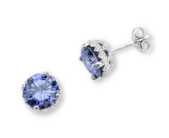 sterling earrings; 8mm round tanzanite colored cubic zirconia in filigree setting