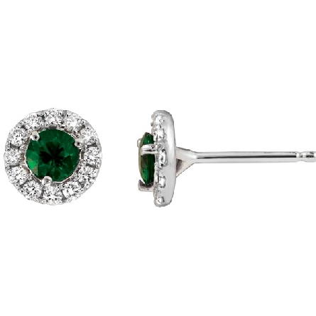 14 karat white gold earrings; round star-grade emeralds with diamond halo; 3/16cttw diamond GH/I1
