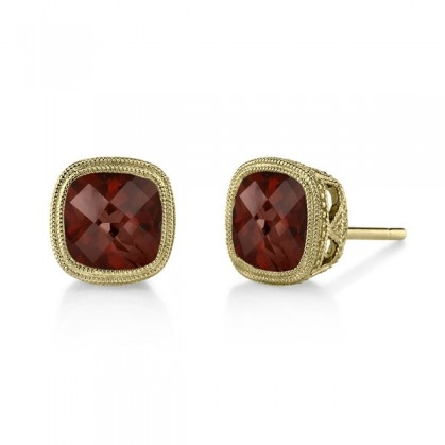 14 karat yellow gold earrings; checkerboard-cut 6mm antique cushion garnet set on point; approx. 2.50cttw; milgrain trim on bezel and underbridging
