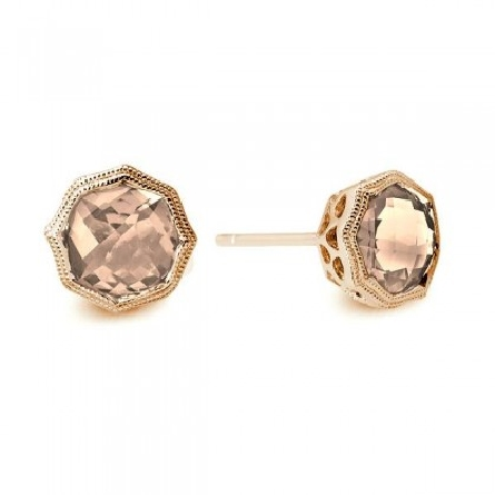 14 karat rose gold earrings; 6mm checkerboard cushion-cut morganite in octagonal milgrain bezel. filigree underbridging; approx. .70cttw